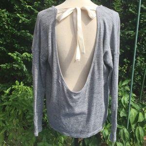 Aerie backless Cropped Sweatshirt w/Ribbon Tie